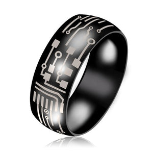 Men's Stainless Steel Circuit Board Ring - Gifted Guppy