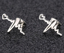 Load image into Gallery viewer, ECG Heartbeat Stainless Steel Stud Earrings - Gifted Guppy