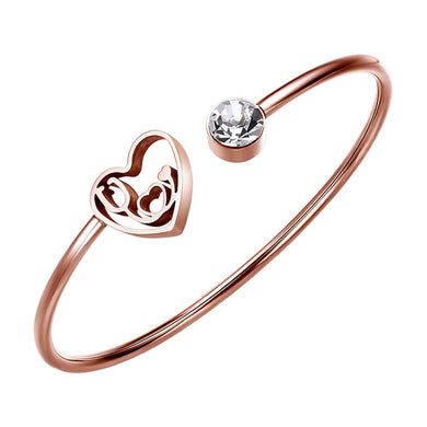 Crystal Heart Nurse's Bangle Stainless Steel Bracelet - Gifted Guppy
