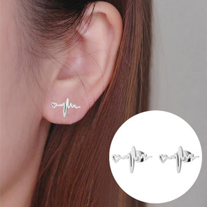 ECG Heartbeat Stainless Steel Stud Earrings - Gifted Guppy