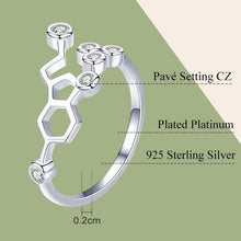 Load image into Gallery viewer, Sterling Silver Serotonin Molecule Ring - Gifted Guppy