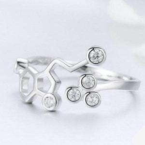 Sterling Silver Serotonin Molecule Ring - Gifted Guppy