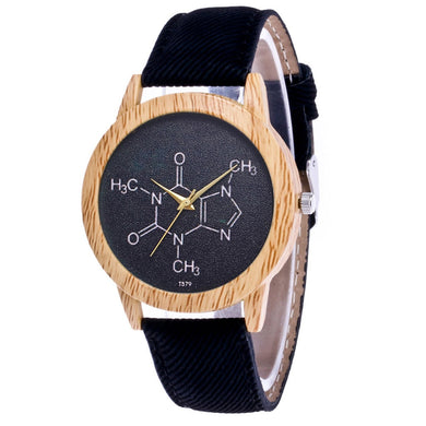 Wooden Caffeine Molecule Chemistry Watch - Gifted Guppy