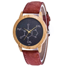 Load image into Gallery viewer, Wooden Caffeine Molecule Chemistry Watch - Gifted Guppy