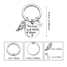 Load image into Gallery viewer, 'Nursing Is A Work Of Heart' Stainless Steel Keychain - Gifted Guppy