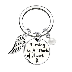 'Nursing Is A Work Of Heart' Stainless Steel Keychain - Gifted Guppy