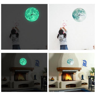 Acrylic Glowing Moon Wall Clock Hanging the Moon