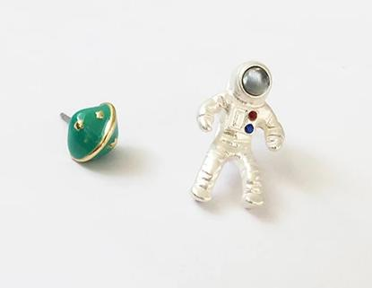 Astronaut, and Starry Planet Stud Earrings