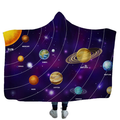 Planetary Space 3D Printed Fleece Hooded Blanket Winter Warmth for kids and adults