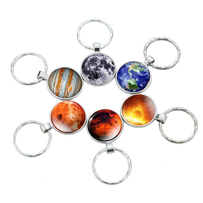 Solar System Planetary Pendant Stainless Steel Key Chain/ Key Rings