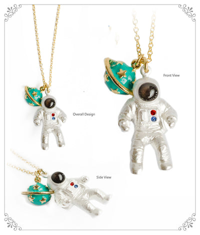 Astronaut Planet Pendant Necklaces, Unique Space Gear