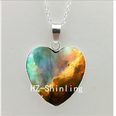 Galactic Nebula Heart Necklace- Heart of the Universe