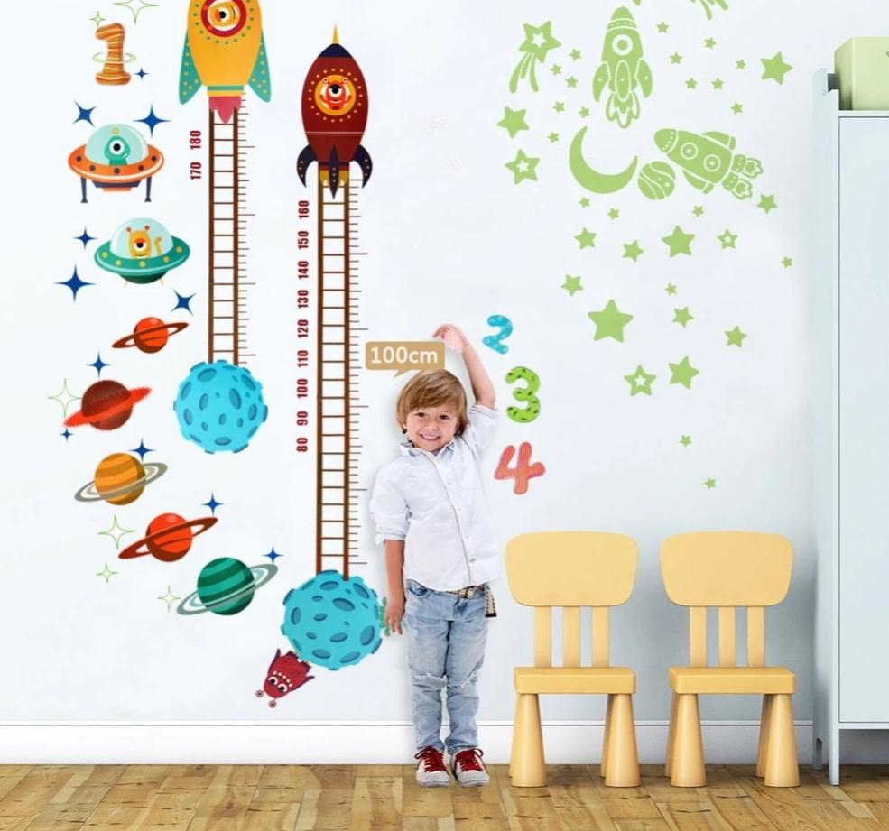 Galactic Height Growth Chart and Stellar Decals for the young explorers' height data!