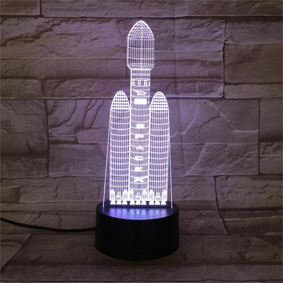 3D Astronaut, Spaceship, Rocket, and Lander Illusion Novelty Night Light