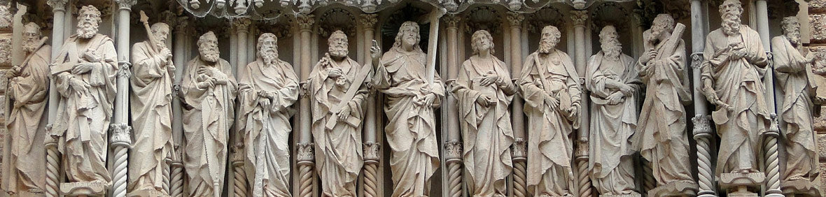 13 Apostles of Jesus Christ standing as anqtiue stone statues