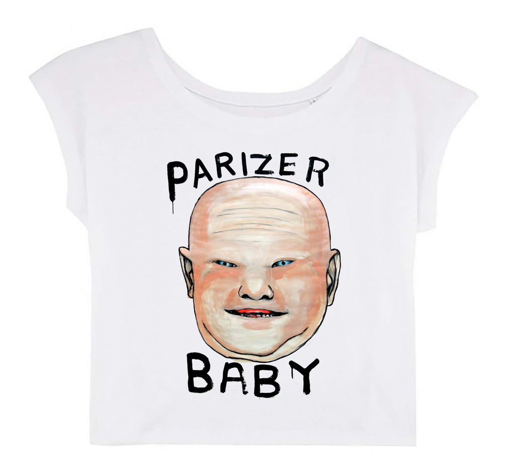 Women's Cropped T-shirt - Parizer Baby │ Lea Rasovszky - Mobius Store