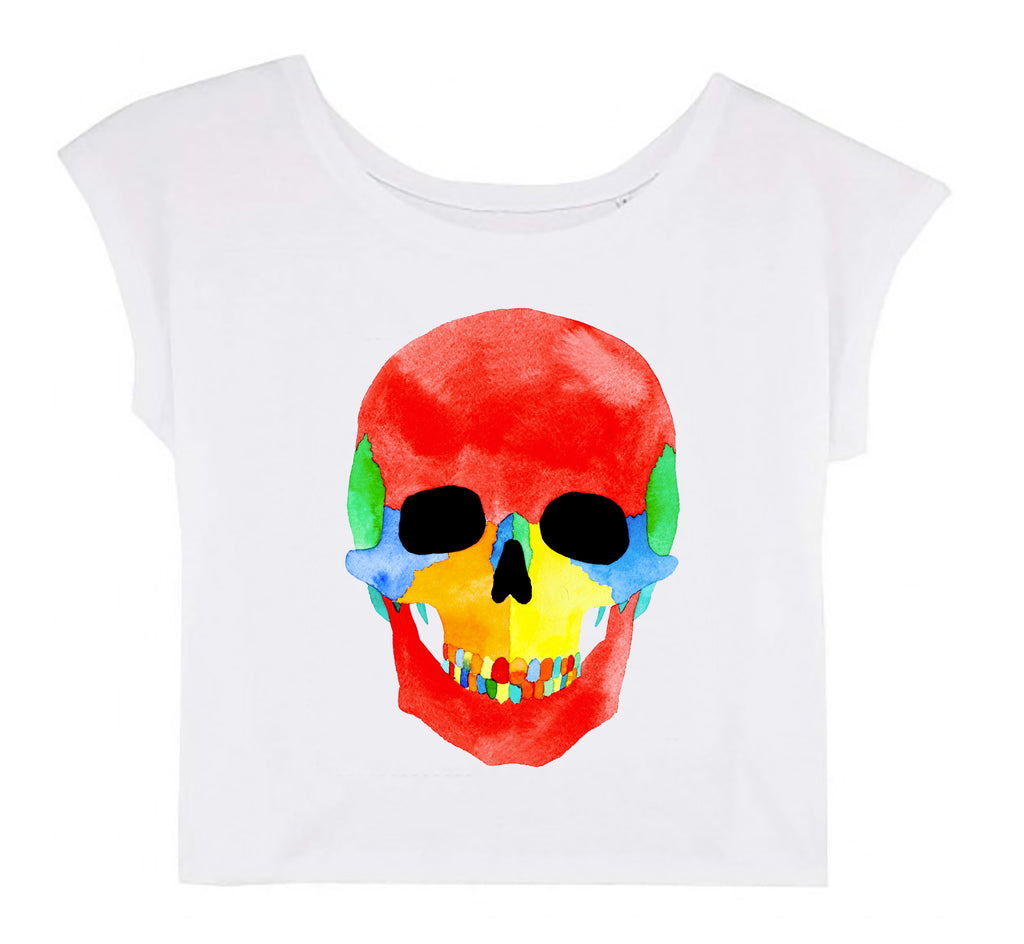 Women's Cropped T-shirt - Skull │ Roman Tolici - Mobius Store