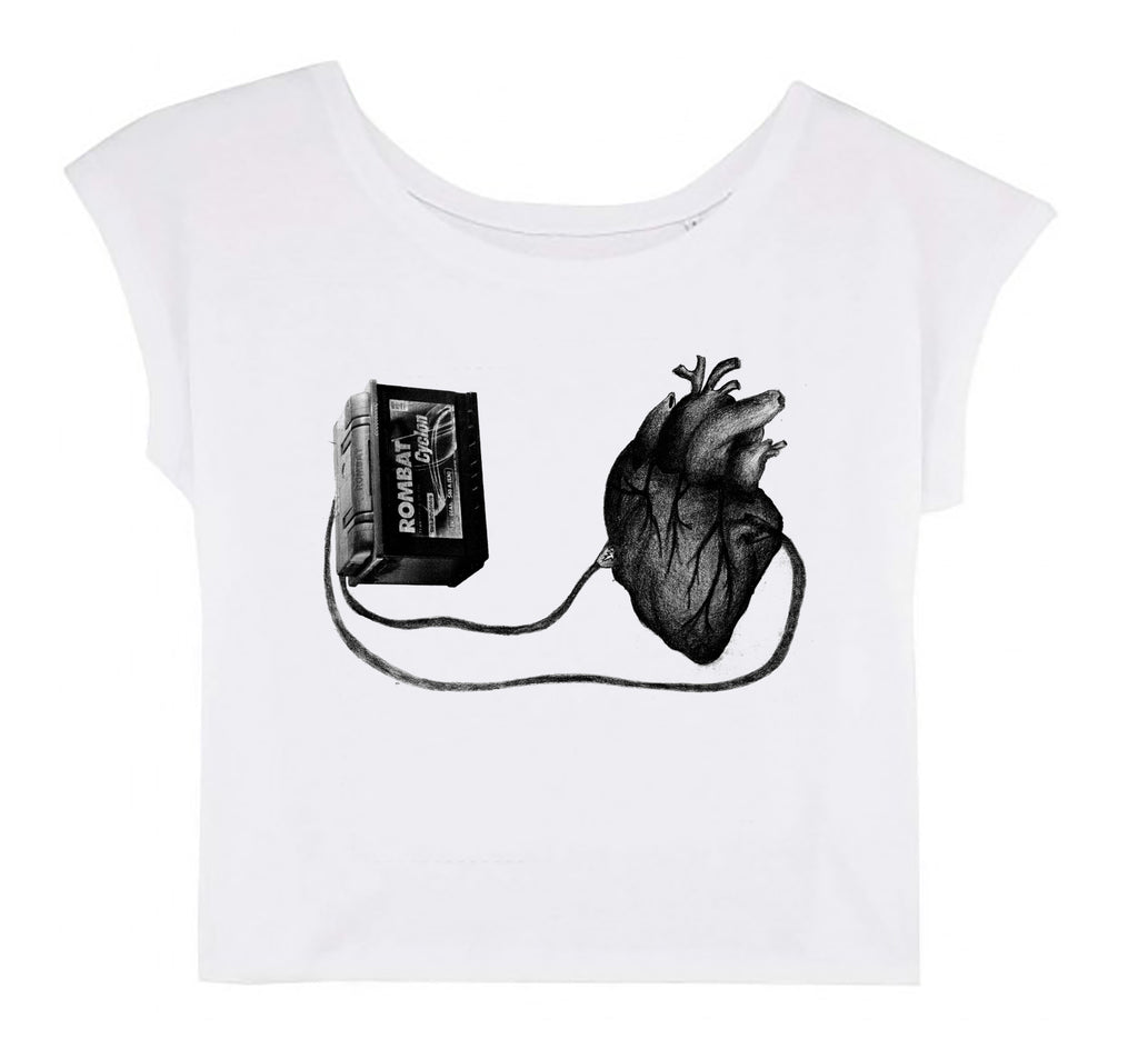 Women's Cropped T-shirt - Left With a Broken Heart │ Sasha Bandi - Mobius Store