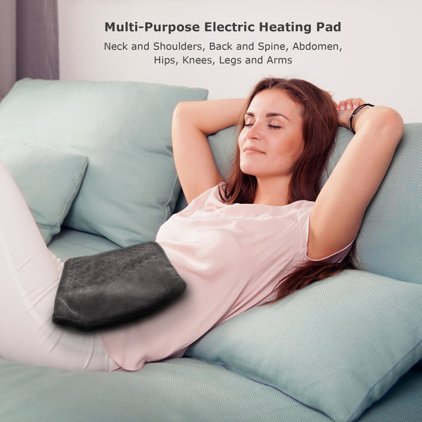 "NueMedics XL King-Size Micro-plush Heating Pad, 6 Heat Settings, Select Hour Auto-Off, Moist/Dry Heat, 12"" x 24"""