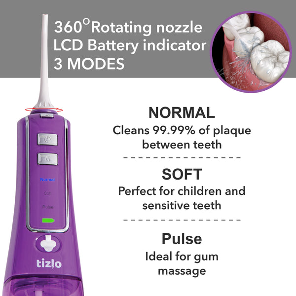 Tizlo Cordless Pro Water Flosser (Purple)