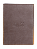 Rhodia Pad Holder N. 12 Chocolate with Orange Lined Pad, 3 ¾ x 5 ¼