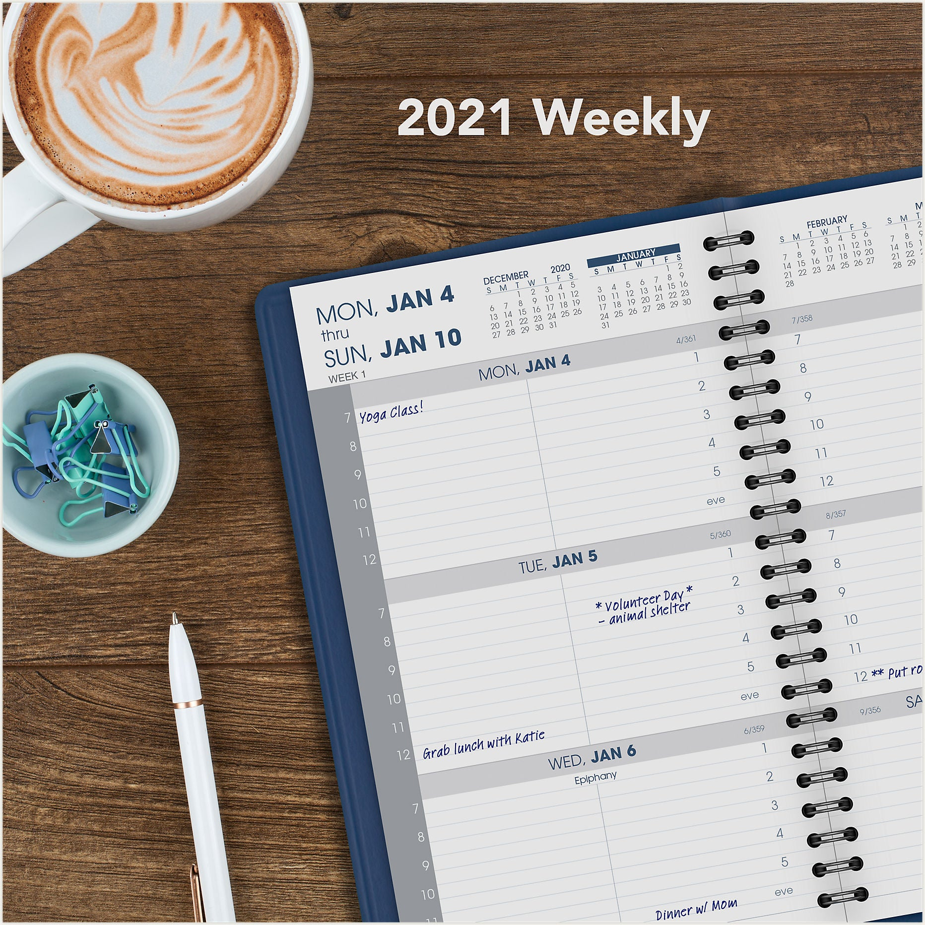 70-108-20  BLUE WEEKLY AT A GLANCE CALENDARS 2021