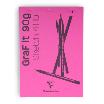 #96680 Clairefontaine Graf it Sketch Pads Glued and Stapled on top 8x12 80 sheets Rose Cover