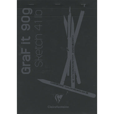 #96841 Clairefontaine Graf it Sketch Pads Glued and Stapled on top 8x12 80 sheets Black Cover