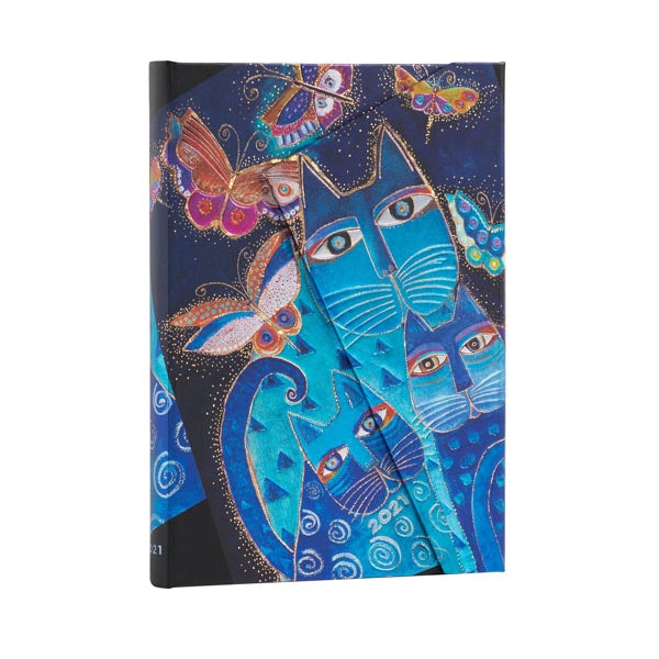 2021 Paperblanks Planner Blue Cats & Butterflies MIDI Horizontal