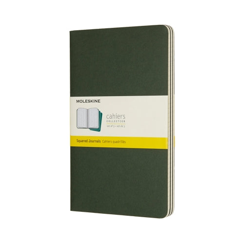 "Moleskine CAHIERS JOURNAL LARGE Size 5"" x 8.25"" SQUARED SOFTcover MYRTLE GREEN"