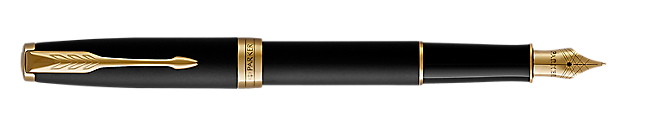 Parker Sonnet Black MATTE Gold Tone Fountain Pen Medium Nib