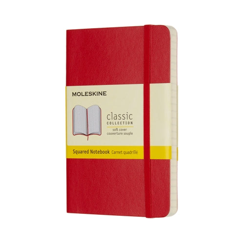 "Moleskine Classic Notebook Pocket Size 3.5"" x 5"" SQUARED Softcover RED"