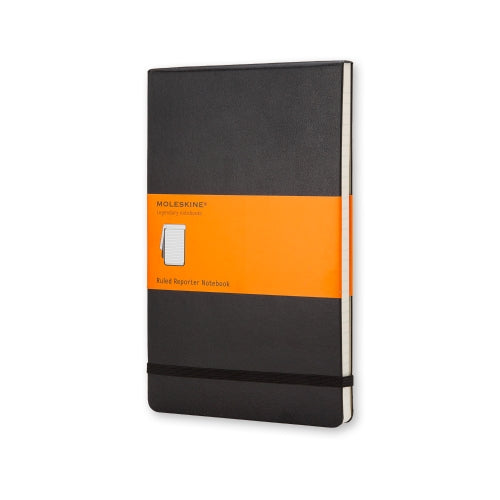 "Moleskine Reporter Notebook LARGE Size 5"" x 8.25"" PLAIN HARDcover BLACK"