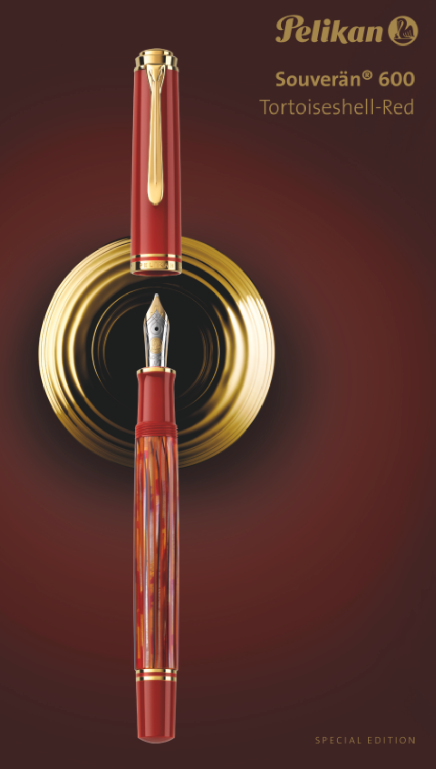 *PELIKAN M600 TORTOISE SHELL-RED FOUNTAIN PEN