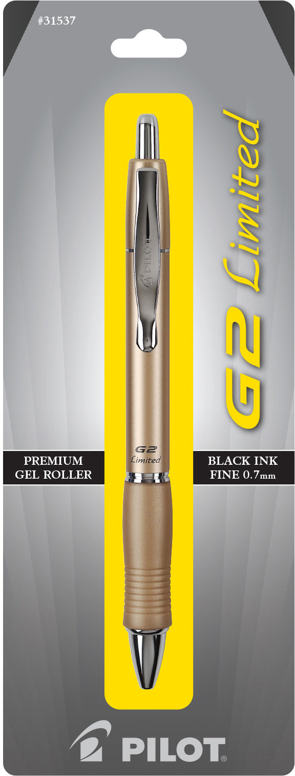 G2 Limited Gold Retractable Gel Roller, Black fine....