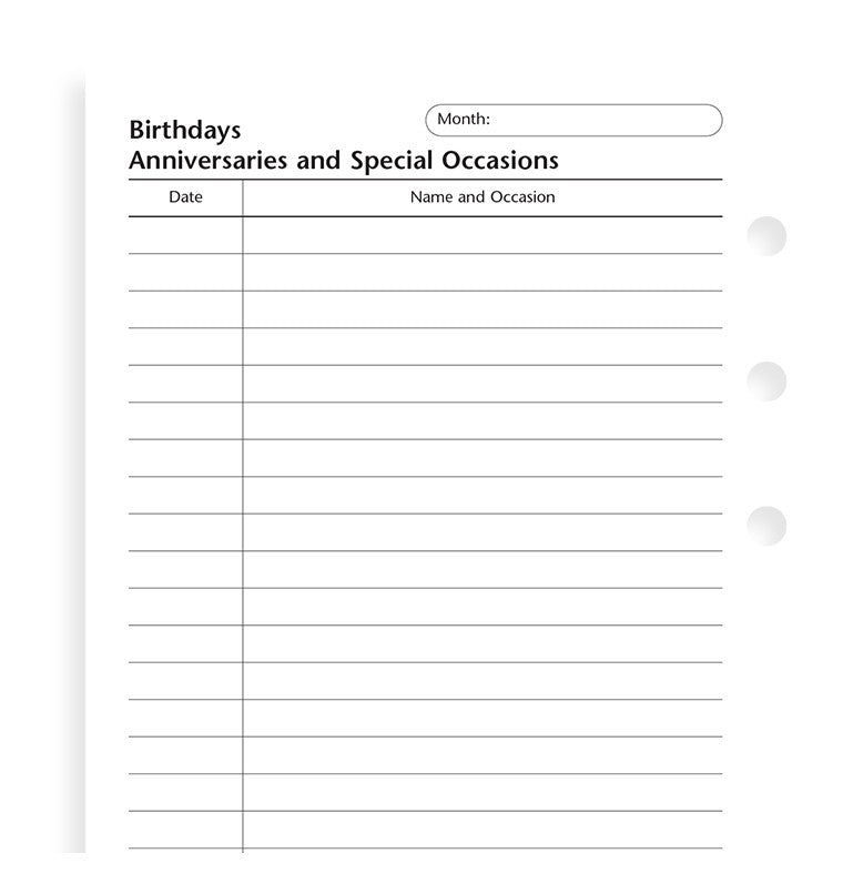 Filofax Organizer or Clipbook BIRTHDAYS ANNIVERSARIES AND SPECIAL OCCASIONS