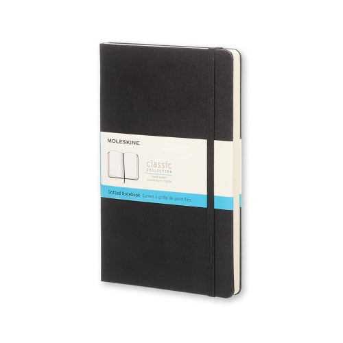 "Moleskine Classic Notebook LARGE Size 5"" x 8.25"" DOT Hard Cover Black"