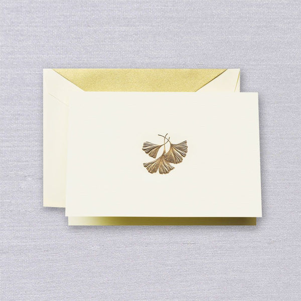 CRANE Engraved Ginko Leaf Note with Gold Lustre Lining