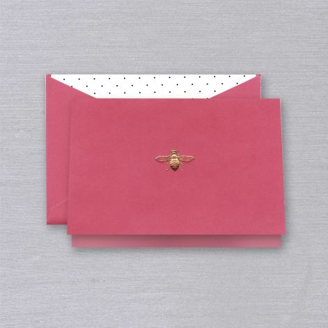 Engraved Hibiscus Queen Bee Note  10 Notes / 10 Lined Envelopes BY CRANE