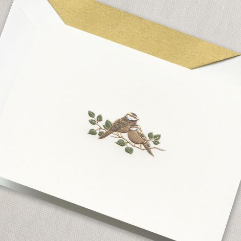 Engraved Love Bird Note  10 notes / 10 lined envelopes BY CRANE