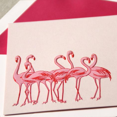 Engraved Flamingos Note by Crane