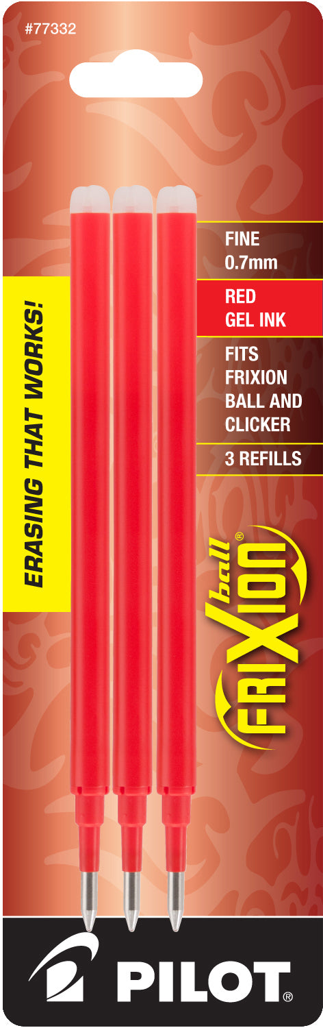 Pilot REFILL FOR  FriXion Clicker Erasable Gel Ink RED 3PACK (Fine 0.7mm)