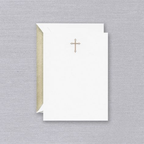 Engraved Gold Cross Imprintable Invitation Card  10 cards / 10 lined envelopes BY CRANE