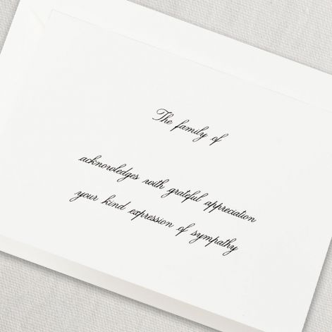 Engraved Pearl White Sympathy Acknowledgement Note by Crane