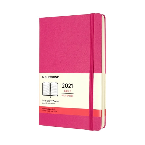 2021 Moleskine Daily Diary/Planner Hard Cover  BOUGAINVILLEA PINK Lg