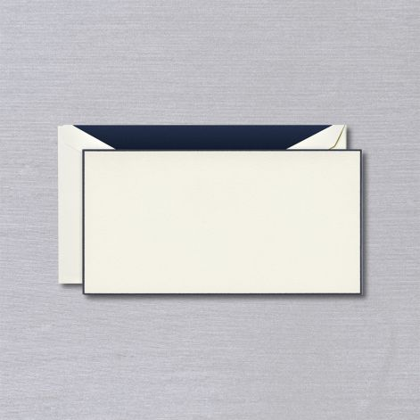 Navy Bordered Ecru Monarch Card  10 cards / 10 lined envelopes BY CRANE