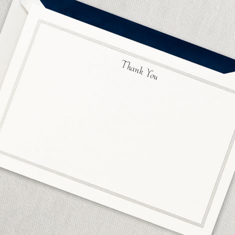 Navy Triple Hairline Thank You Card by Crane