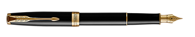 Parker Sonnet Black Lacquer Gold Tone Fountain Pen Fine Nib