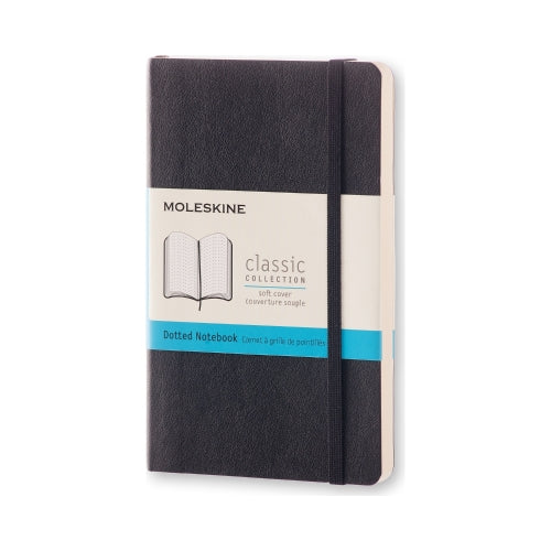 "Moleskine Classic Notebook SMALL Size 3 1/2"" X 5 1/2"" DOT Soft Cover Black"