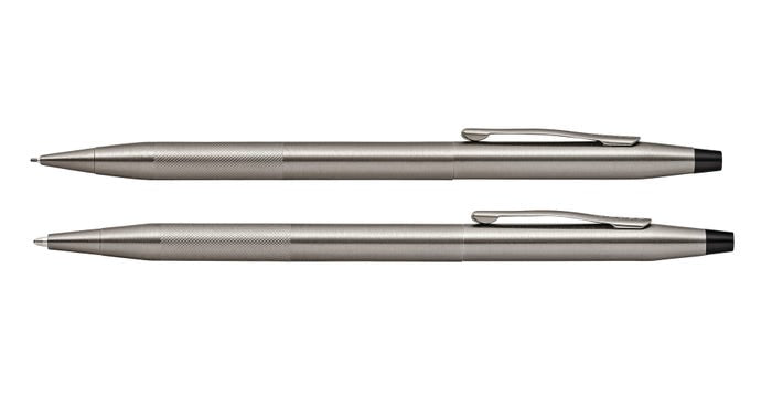CROSS CLASSIC CENTURY TITANIUM GRAY PEN AND PENCIL SET WITH MICRO-KNURL DETAIL